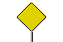 Yellow Blank Road Sign Isolate...
