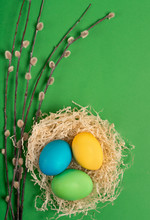 Multi-colored Easter Eggs In A...