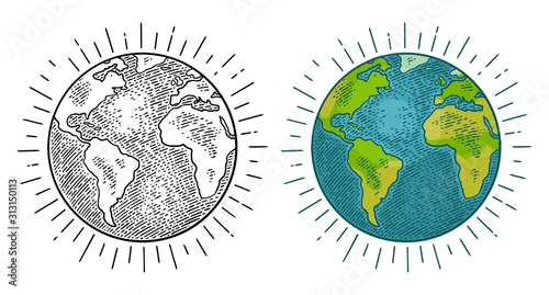 Earth planet. Vector color vintage engraving illustration