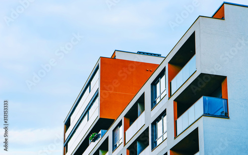 Apartment in residential building exterior Canvas Print