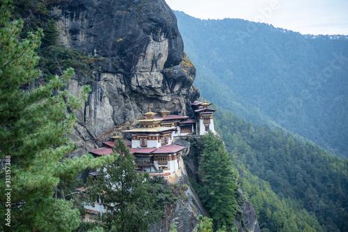 Tiger Nest Bhutan Monastery having beautiful background Canvas Print