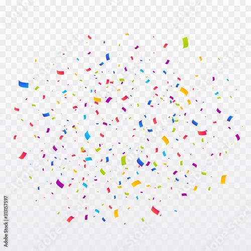 Fototapeta Confetti burst vector illustration. Color ribbons and streamers. Birthday party background obraz na płótnie