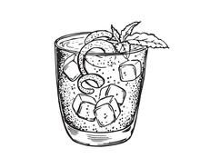 Mojito Cocktail Hand Drawn.