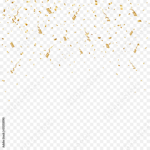 Gold Confetti Background. Party Vector Illustration Canvas-taulu