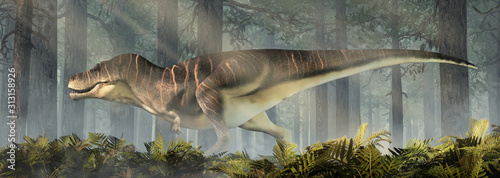 Photo A fat tyrannosaurus rex stands in a prehistoric forest