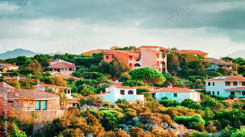 Photo Baja Sardinia in the Mediterranean Sea on Costa Smeralda in Sardinia in Italy