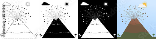 Photo Vector set stock images awakened volcano in line style, silhouette black, white silhouette, flat style