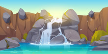 Waterfall Cartoon Illustration. River Stream Flowing Throw Rocks To Mountain Lake. Vector Landscape Of Cascade Falling Water, Stones And Bushes In Park, Jungles Or Garden