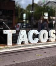 Tacos Sign Seen Inside A Resta...