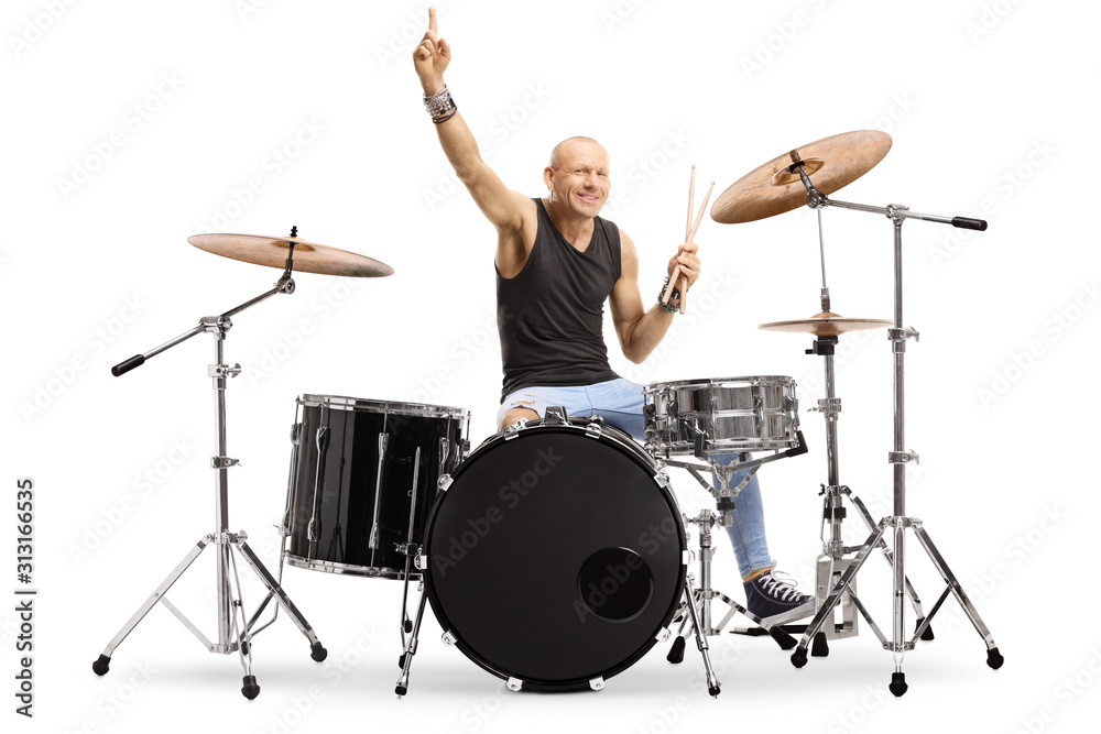 Fototapeta Male musician with a drum kit
