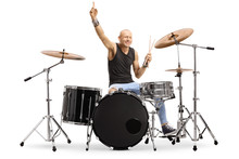 Male Musician With A Drum Kit