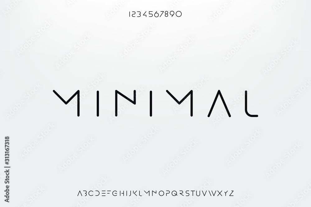 Fototapeta Minimal, an Abstract technology science alphabet font. digital space typography vector illustration design