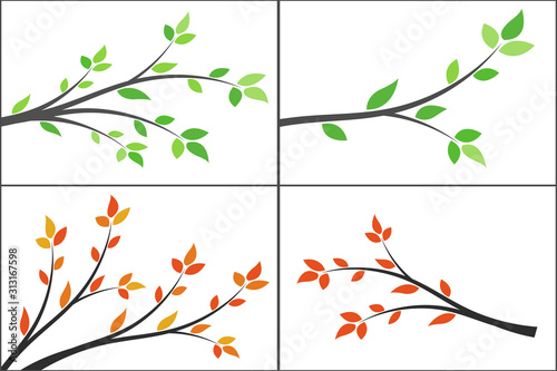 Set of silhouette of a branch with leaves. Young tree. Slika na platnu