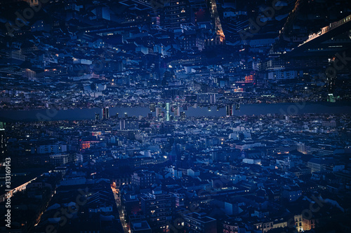 Madrid, Double exposure of city downtown at night - 313169143