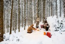 Man Preparing Tea In Winter Fo...