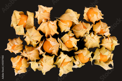 Valokuvatapetti Top view of whole 'Physalis peruviana' Golden berry fruits enclosed with papery