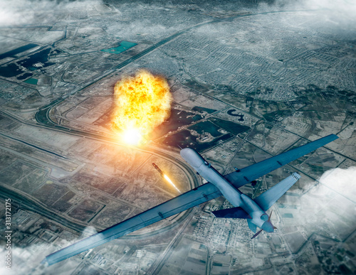 US drone attack on the convoy of the Iranian general Qassem Soleimani, 3d render. Baghdad airport, Iraq. - 313172175