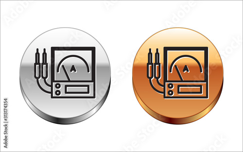 Black line Ampere meter, multimeter, voltmeter icon isolated on white background Canvas Print