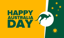 Australia Day. National Happy Holiday, Celebrated Annual In January 26. Australian Patriotic Elements.  Kangaroo Silhouette. Poster, Card, Banner And Background. Vector Illustration