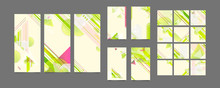 Set Cards Green And Yellow Lines And Points White Background. Banner Summer Ecology Light Minimal Geometric