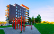 Apartment in residential building exterior. Housing structure at blue modern house of Europe. Rental home in city district on summer. Architecture for business property investment, Vilnius, Lithuania.