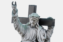 The Statue Of Jesus Christ With A Cross And A Thorn Wreath On The Head (religion, Christianity Concept). Statue From City Cemetery Isolated On A White Background