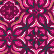 Hippy Floral Happy Pink Mottled Ornate Textured Stylized Graphical Pink Tile Motif. Kaleidoscopic Psychedelic Symmetric Flower Design. Seamless Repeat Vector Pattern Swatch.