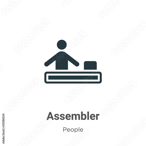 Assembler glyph icon vector on white background Canvas Print