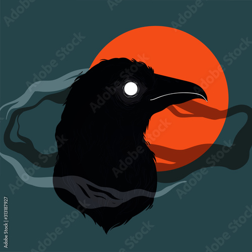 Vector illustration of bird-raven. Hand drawn design Canvas Print