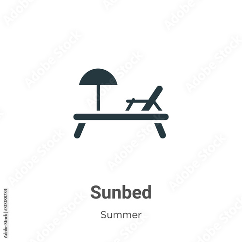 Cuadros en Lienzo Sunbed glyph icon vector on white background