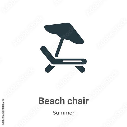 Fotografía Beach chair glyph icon vector on white background