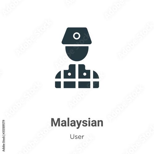 Fotografía  Malaysian glyph icon vector on white background
