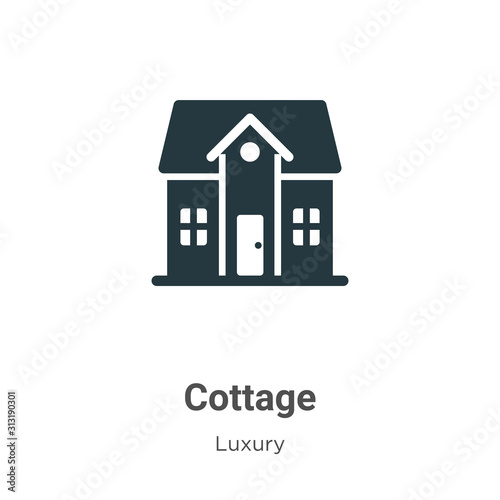 Foto Cottage glyph icon vector on white background