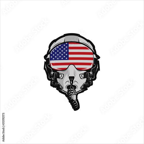 Fotomural American fighter jet pilot helmet