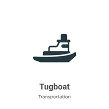 Tugboat Glyph Icon Vector On W...