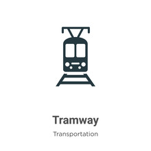 Tramway Glyph Icon Vector On White Background. Flat Vector Tramway Icon Symbol Sign From Modern Transportation Collection For Mobile Concept And Web Apps Design.