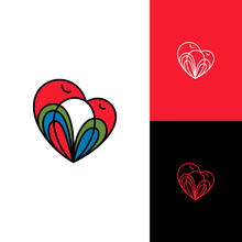 Love Bird Logo Design. Logo Concept Of Two Bird In Heart Shape, Bird Nest, Baby Birds And Their Mother Vector Illustration. Mother Care Symbol, Minimalist Line Art Style. Caring Icon