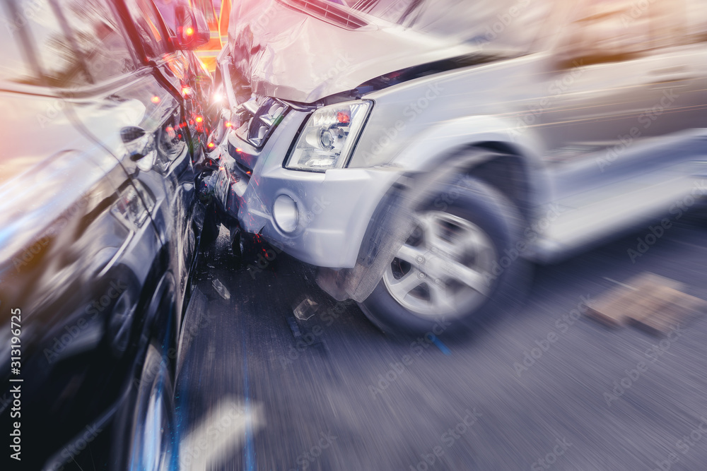 Fototapeta Car crash dangerous accident on the road. With speed zoom blur.