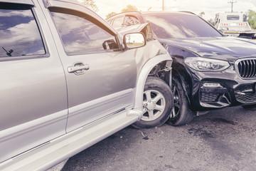 Car crash dangerous accident on the road.