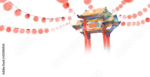 Painting of chinese arc at daytime Wallpaper Mural