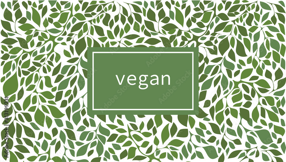 Fototapeta Green leaves label background suitable for vegan products, beauty or food. Vector illustration.