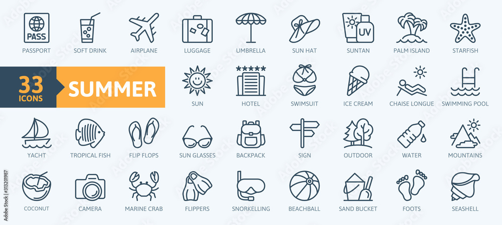 Fototapeta Summer, vacation, beach elements - minimal thin line web icon set. Outline icons collection. Simple vector illustration.