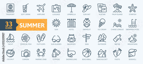 Fototapeta Summer, vacation, beach elements - minimal thin line web icon set. Outline icons collection. Simple vector illustration. obraz