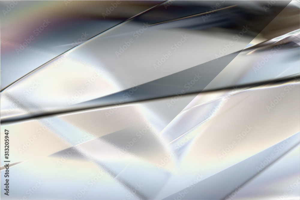 Fototapeta 白く透明感の美しい虹色のメタリックなクールなガラス質感のアブストラクト