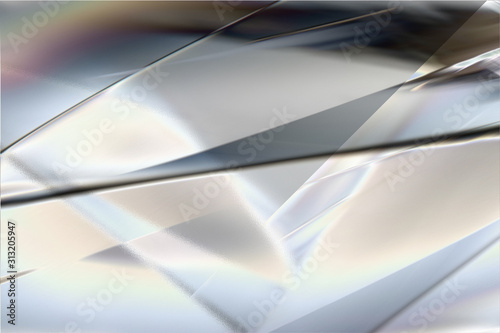 Obraz 白く透明感の美しい虹色のメタリックなクールなガラス質感のアブストラクト - fototapety do salonu