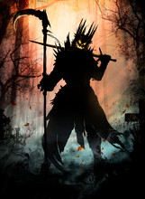 A Terrible Monster With A Sinister Smile And Glowing Eyes Holds A Scythe And A Sword, On His Head He Has A Crown Of Long Spikes. Standing In The Middle Of A Misty Cemetery At Sunset .