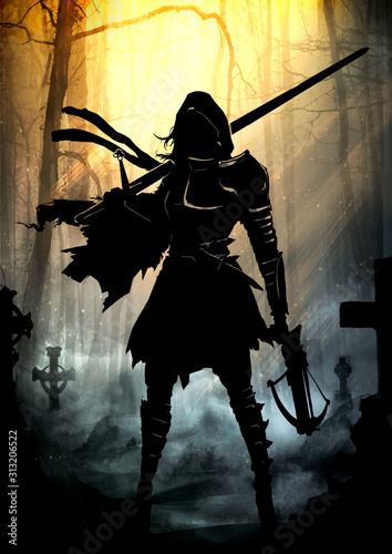 Canvas Print The silhouette of a girl in a hood with a long sword and a crossbow in her hands, in a ragged cloak and armor elements on her chest and shoulders, Stands in the middle of the cemetery in the sun