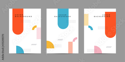 Obraz Placard templates set with Geometric shapes, Memphis geometric style flat and line design elements. Memphis art for covers, banners, flyers and posters. Eps10 vector illustrations - fototapety do salonu