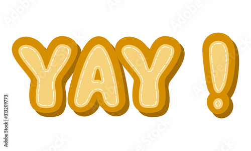 Vector cartoon illustration of text sticker. Lettering text - yay. Isolated on white background.