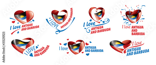 The national flag of the Antigua and Barbuda and the inscription I love Antigua and Barbuda Wallpaper Mural